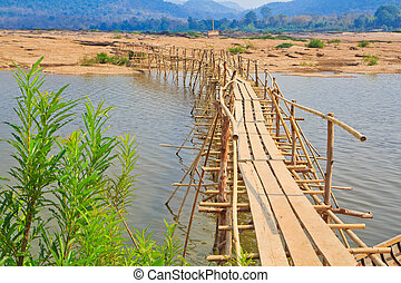 Bamboo bridge across the river (Mekong River) thailand