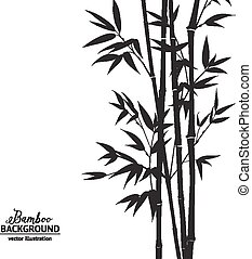 Bamboo bush. - Bamboo bush, ink painting over white...