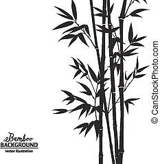 Bamboo bush. - Bamboo bush, ink painting over white ...