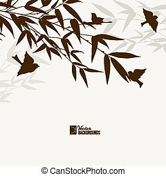 Bamboo bush with birds.