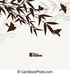 Bamboo bush with birds.