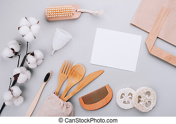 Bamboo cutlery, organic products and cotton branch