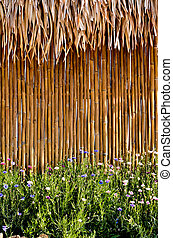 bamboo fence with flower