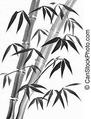 Bamboo foliage watercolor painting