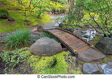 Bamboo Foot Bridge Over Creek