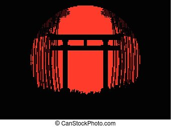 Bamboo forest background in the japanese sunrise with black silhouette and japanese gate