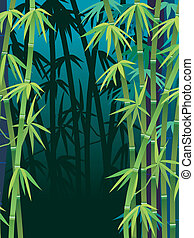 Illustration of a dark tropical bamboo forest