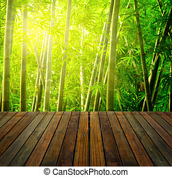 bamboo forest with ray of lights and plank woods, suitable for product placement advertisement