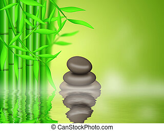 Bamboo Forest  with Zen Pebbles Background