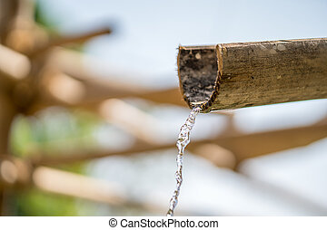 Bamboo fountain with water