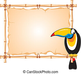 Cheerful toucan sitting on a bamboo frame