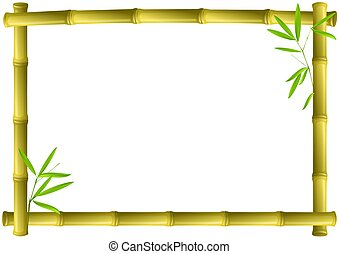 Bamboo frame - brown bamboo frame isolated on white