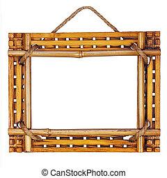 Bamboo frame isolated on white background.