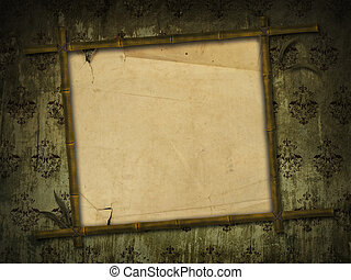 bamboo frame with ancient paper