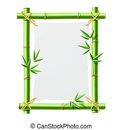 Bamboo frame with blank paper - Vector illustration of a...