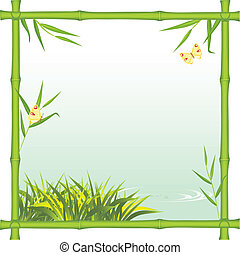 Bamboo frame with kind of the river