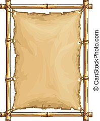 Bamboo frame with old torn textile cloth. Vector illustration.