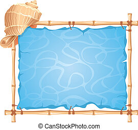Bamboo Frame with seashell. Detailed vector picture.