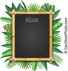 Bamboo frame with tropical leaves realistic. Vector