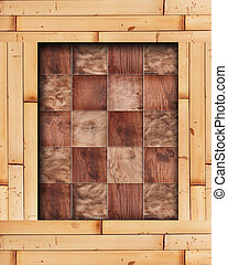Bamboo frame with wooden squares in a checkerboard pattern