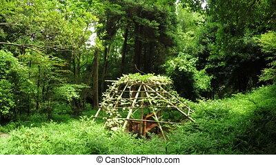 Bamboo gazebo - In botanical park Batumi bamboo gazebo