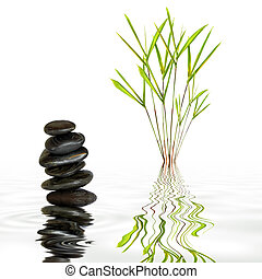 Bamboo leaf grass and spa stones in perfect balance with reflection in rippled grey water, over white background.