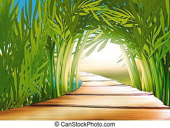 Bamboo grove - Highly detailed cartoon background 03 - ...