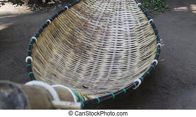 Bamboo hammock moving in the garden