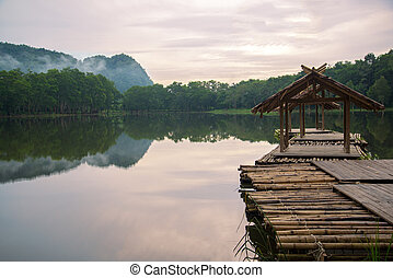 Bamboo house or wooden house on water
