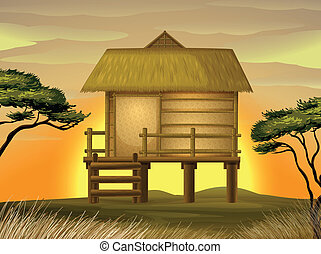 Bamboo hut - illustration of a hut in beautiful nature