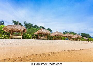 Bamboo hut on beach on sea
