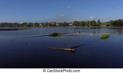 Bamboo hut structure for local aquaculture provide domestic...