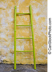 Bamboo ladder.
