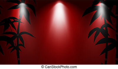 Bamboo leaves on red background with light. Vector