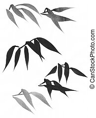 Bamboo leaves painting study