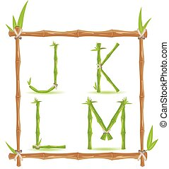 Bamboo Letter Alphabet Green Set C Vector