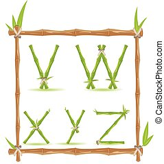 Bamboo Letter Alphabet Green Set F Vector