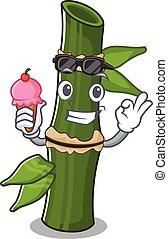 Bamboo mascot cartoon design with ice cream