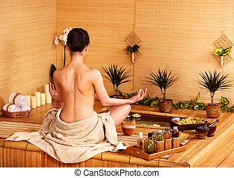 Bamboo massage at spa . - Bamboo massage at spa and woman.
