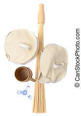 Bamboo massage broom isolated on white