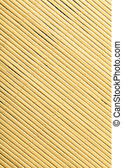 Yellow beige bamboo mat surface pattern diagonal background texture. Square format