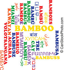 Bamboo multilanguage wordcloud background concept