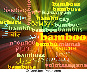 Bamboo multilanguage wordcloud background concept glowing