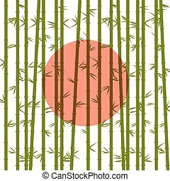 Bamboo on a background of the red sun