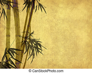 bamboo on old grunge antique paper
