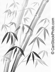 Bamboo painting with light leaves