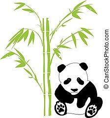 bamboo panda - vector panda bear with bamboo