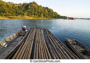 Bamboo raft and boat