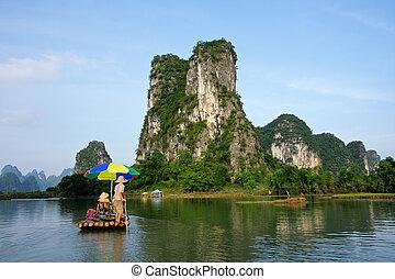 Bamboo raft with tourists on the Li river, Yangshou, China