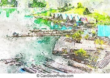Bamboo rafting in the dam, with watercolor art.